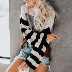 ✨RESTOCKED✨Mixed stripe sweater tunic